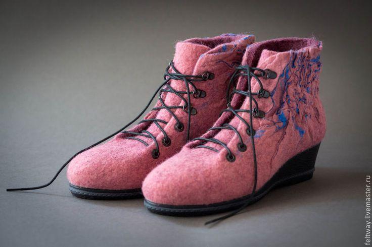 Купить Ботильоны войлочные - коралловый, пыльная роза, пыльно-розовый, ботильоны, войлочная обувь