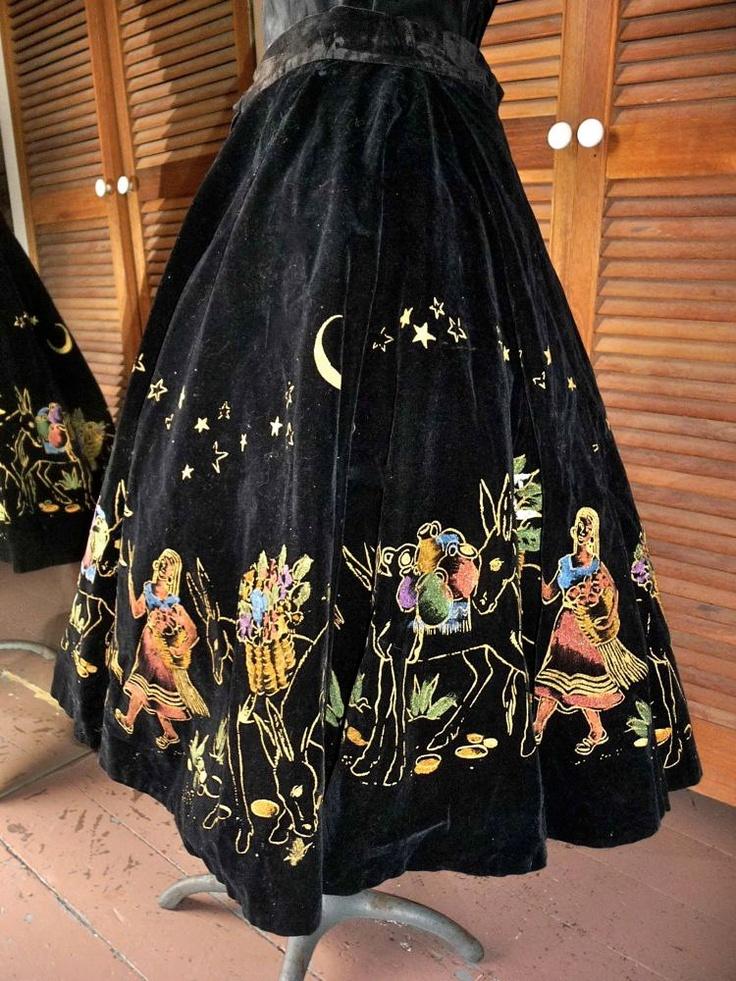 Vintage 1950s Black Velvet Hand Painted Mexican Full Circle Crinoline Skirt Donkeys Under The Stars. $95.00, via Etsy.