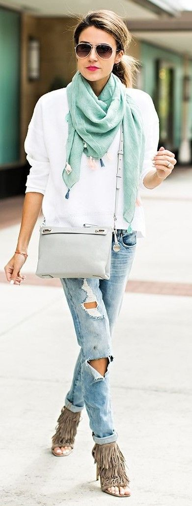 Mint Scarf + White Top + Ripped Denim | Hello Fashion