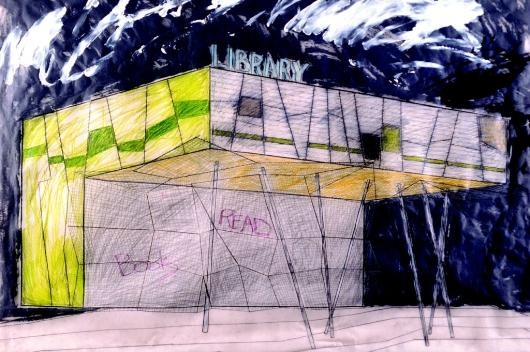 Peckham Library, London, 1995, Concept drawing by Will Alsop