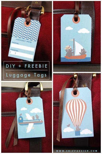 Free printable - Animal Design Luggage Tags