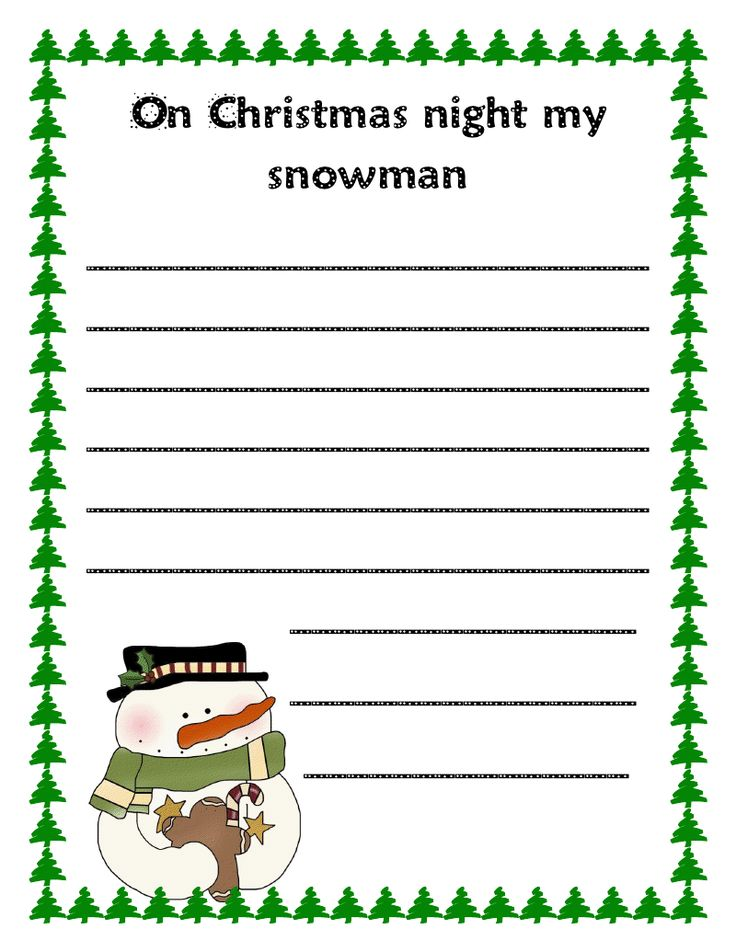 Literacy Minute: Snowmen at Christmas Writing Prompts