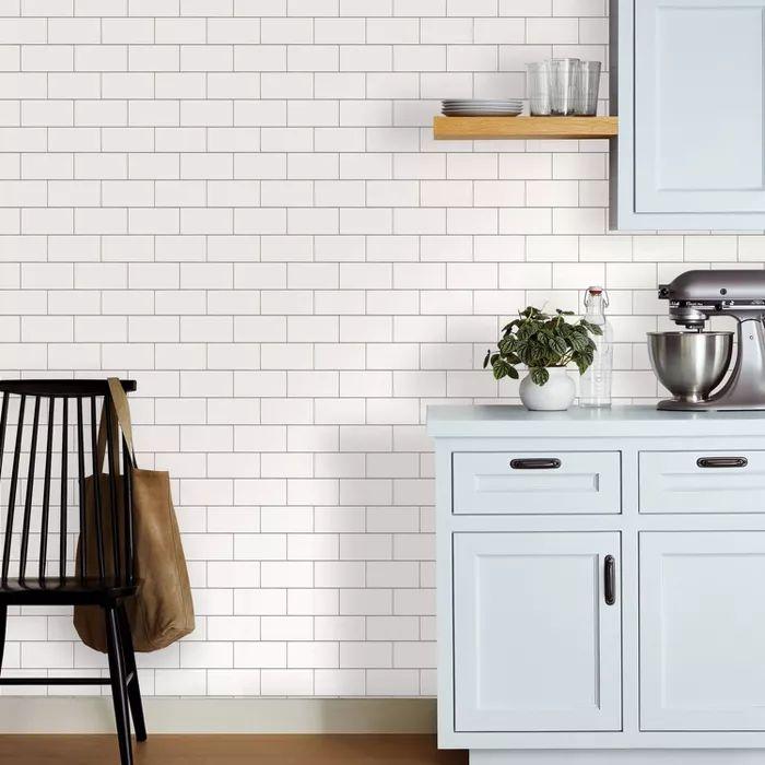 Subway Tile Peel & Stick Wallpaper White - Threshold™ : Target