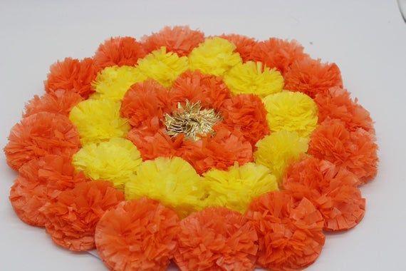 Artificial Flower Marigold Marigold Decoration Pooja Mandir Etsy Diwali Decorations Flower Rangoli Glow Party Decorations