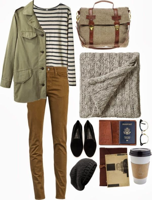 Chino/ Curduroy pants, striped 3/4 T, parka, thick knit scarf, loafers, baggy beanie