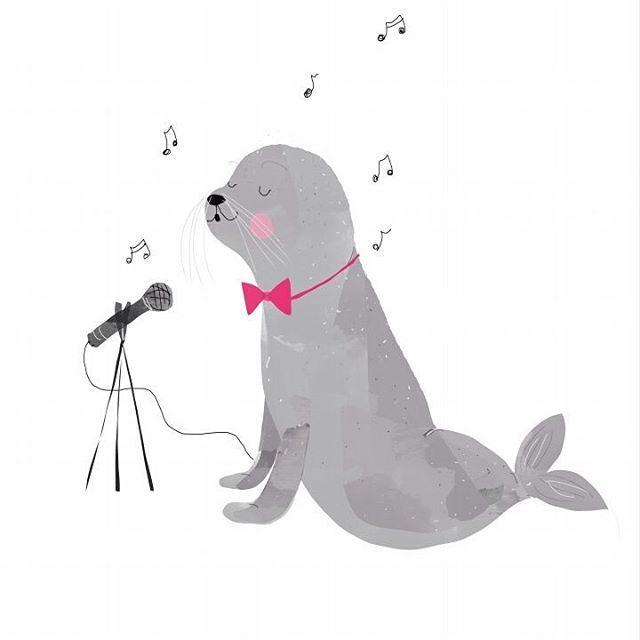 | S = Seehund Sänger |   #tiziszirkusabc #postertobe #seal #seehund #zirkus #circus #tiere #sänger #singsang #halteteuchdieohrenzu #schiefetöne #schnulzensänger #ohrenkrebs #illustratorsofinstagram #illustration #funnystuff #kidsillustration #kinderzeichnung #doodle #dailyart