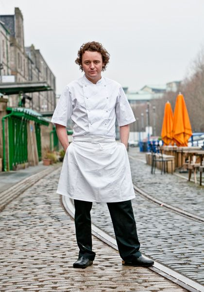 Michellin Chef Tom Kitchin outside his restaurant in Leith,Edinburgh.