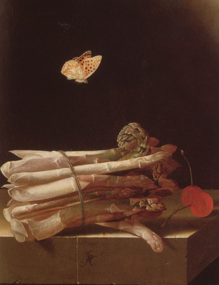Adriaen Coorte, Still Life with Asparagus, Cherries and a Butterfly, c. 1693-95 Paper on panel