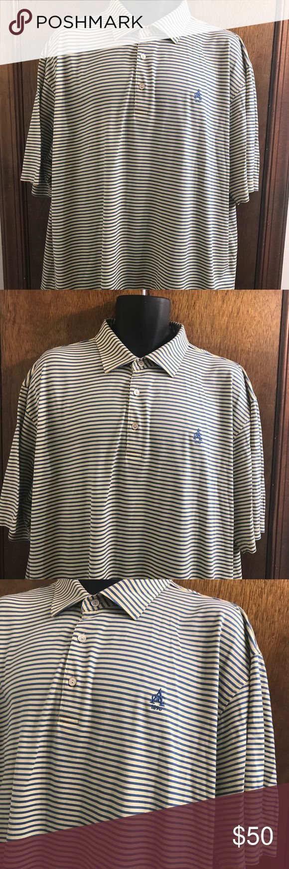 """Peter Millar 1896 Stripe Golf Polo Shirt Size XL Peter Millar 1896 Yellow Blue Stripe Golf Polo Shirt Size XL Extra Large 100% cotton Pristine condition  Pit to pit 25"""" Length 32"""" Peter Millar Shirts Polos"""