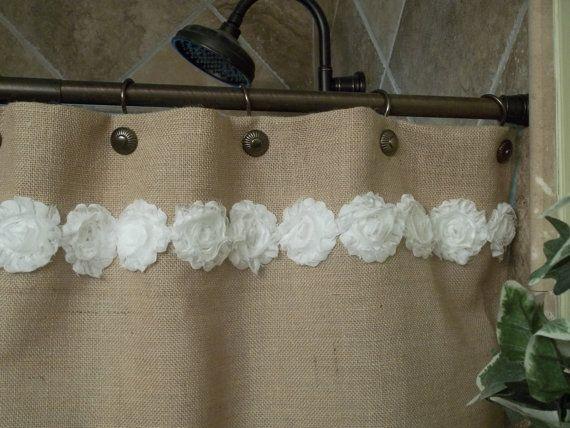 Rideau de douche de toile de jute - Trim Shabby fleur blanche