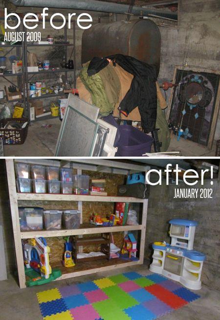 creepy basement becomes kids' playroom with storage