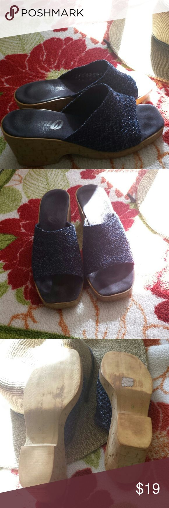 """Navy Onex sandals Perfect blue jean sandals. So comfortable.  If you've never worn Onex, be prepared to fall in love. 2 1/2"""" heel. Onex Shoes Sandals"""