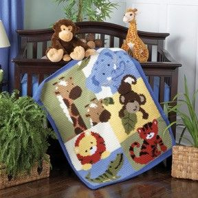 crochet pattern jungle animals blanket | Jungle Buddies Baby Blanket Crochet Kit review at Kaboodle