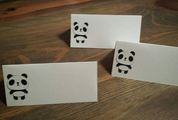 Panda Bear Themed Place Cards, Buffet Food, Party Name Tags, Placemat Cards (set of 10)