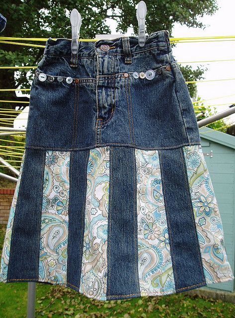 Upcycled jean skirt.