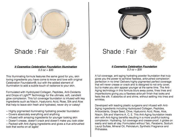 it Cosmetics Celebration Foundation vs Celebration Illumination Foundation (Shades shown for Fair/Pale Skin)