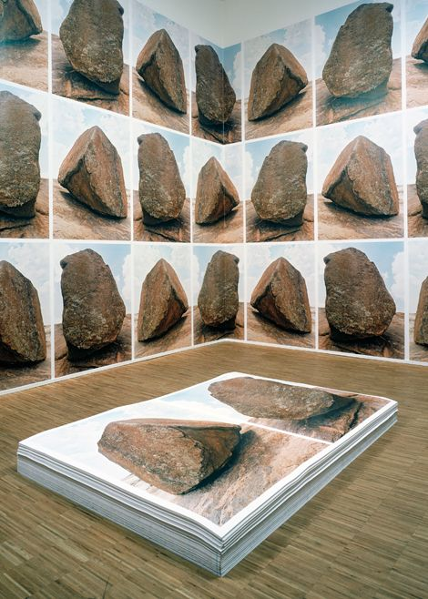 Micheal Francois works with choreographers Pierre Droulers and Anne Teresa De Keersmaeker (she's great of course). These rocks are large posters, repeating. Déjà Vu, 2004.