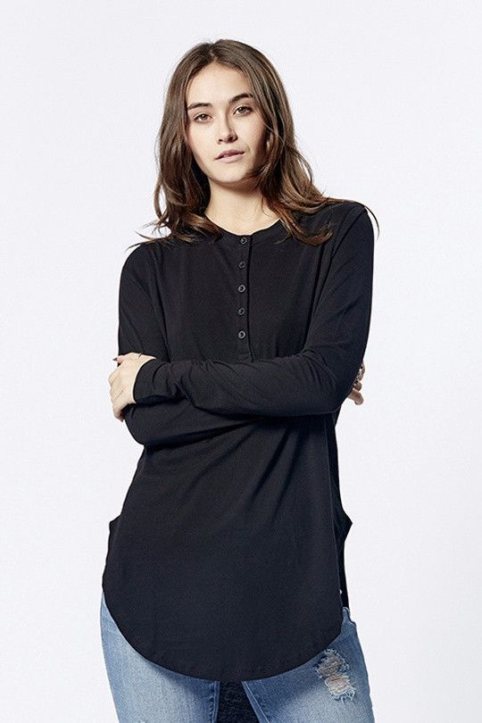 casa kuma - Mandarin Long Sleeve Tee Black
