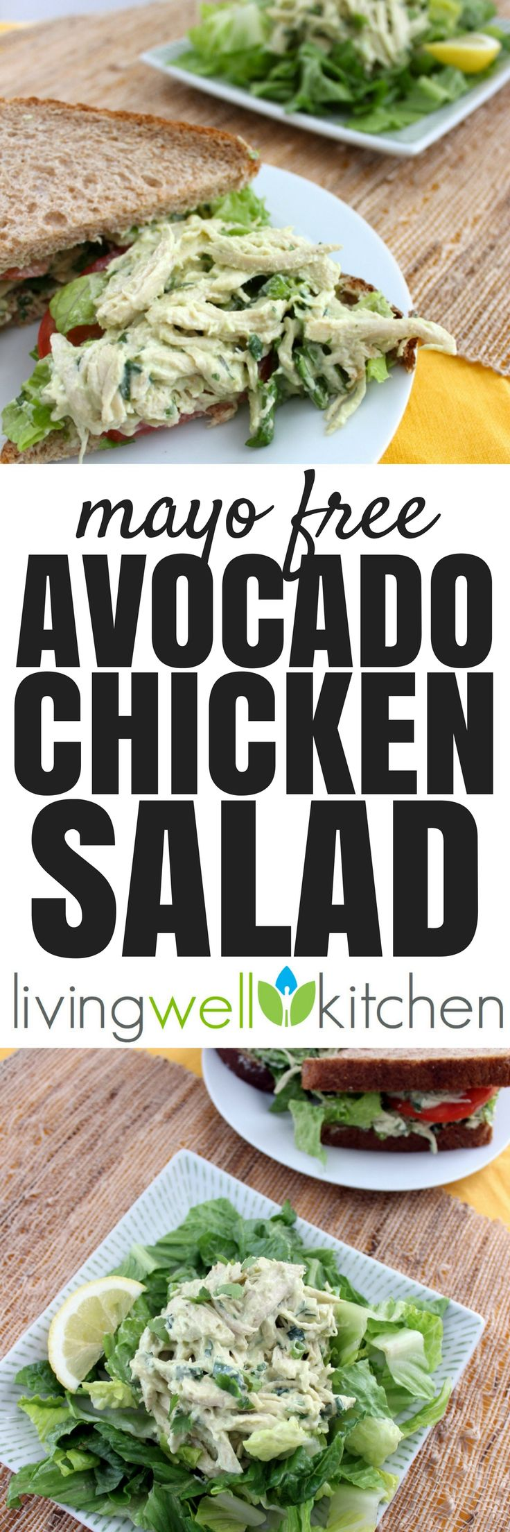 Avocado Chicken Salad recipe from @memeinge is a high protein chicken salad made without mayo. Nutritious and delicious, this is perfect for any main meal: lunch, snack, or light dinner. Healthy, gluten free