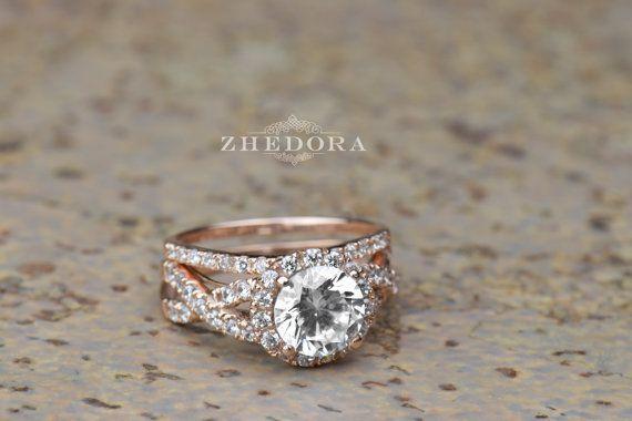 2.25 CT Round Cut Engagement Ring band set in Solid 14k or 18k Rose Gold Bridal, Wedding Set , Engagement Set, Lab Created Diamond