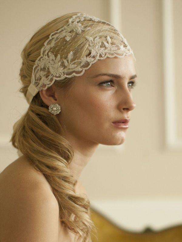 Split Lace Ribbon Wedding Headband with Ivory or White French Netting
