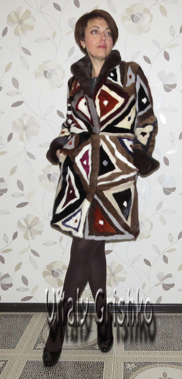 """Купить Шуба """"Калейдоскоп"""" - абстрактный, комбинированный, Норка, шуба, дизайнерская одежда, мех натуральный"""