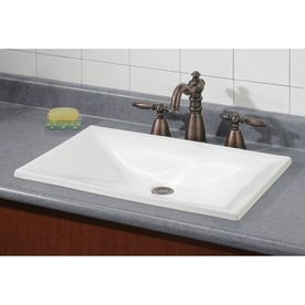 Cheviot Estoril White Drop In Rectangular Bathroom Sink 1180 Wh