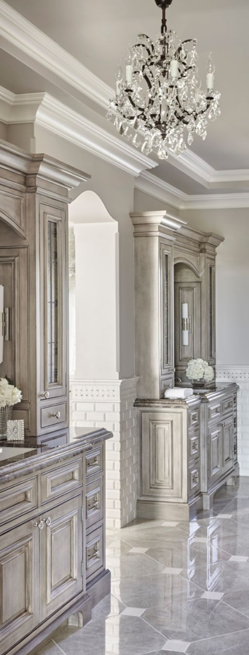 Master bath with built-ins and chandelier | traditional decor | bathroom ideas