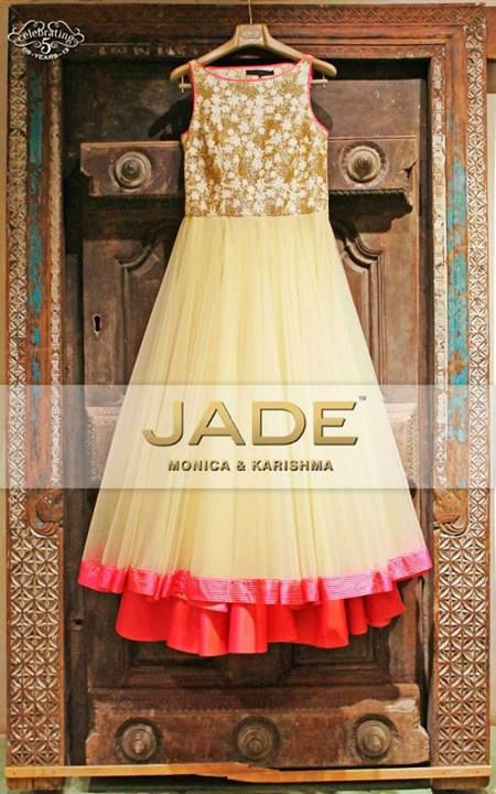 Iridescent ivory floor length anarkali with a glittery yolk and pretty pink border! Jade by Monica and Karishma