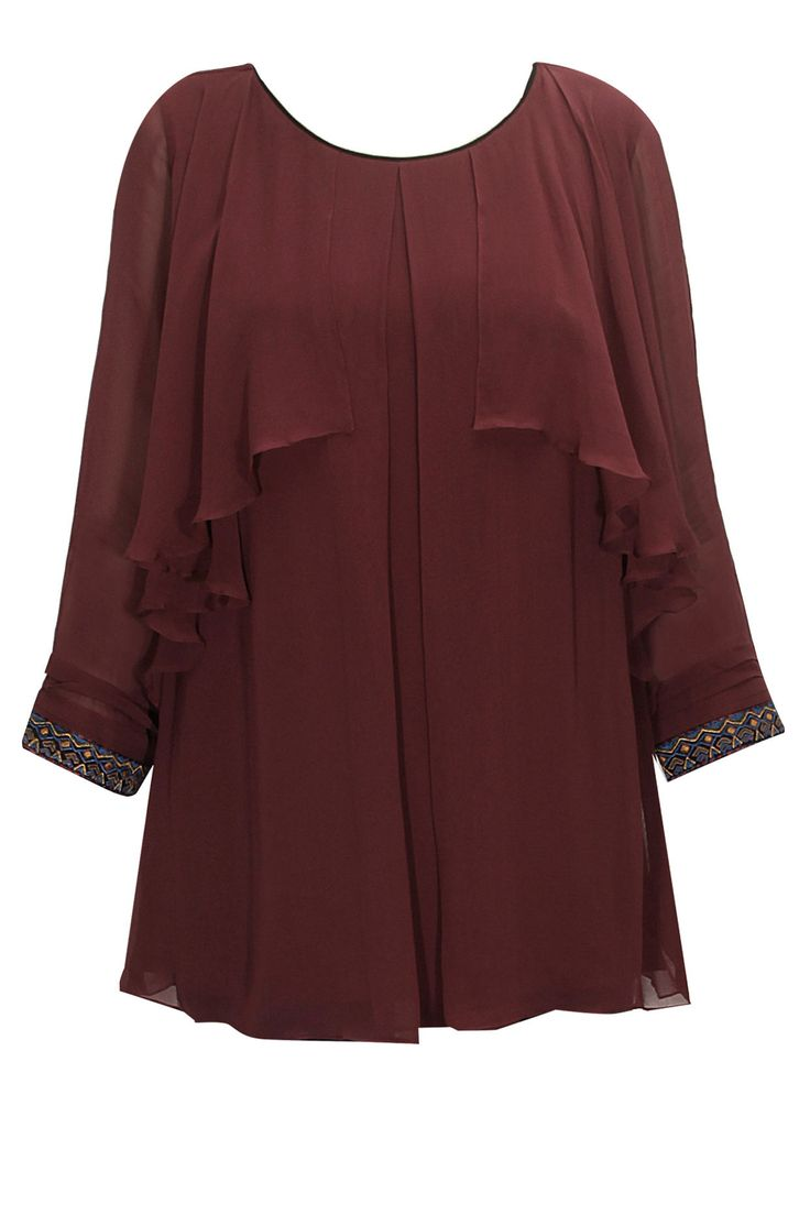 Maroon ruffle georgette top available only at Pernia's Pop-Up Shop.