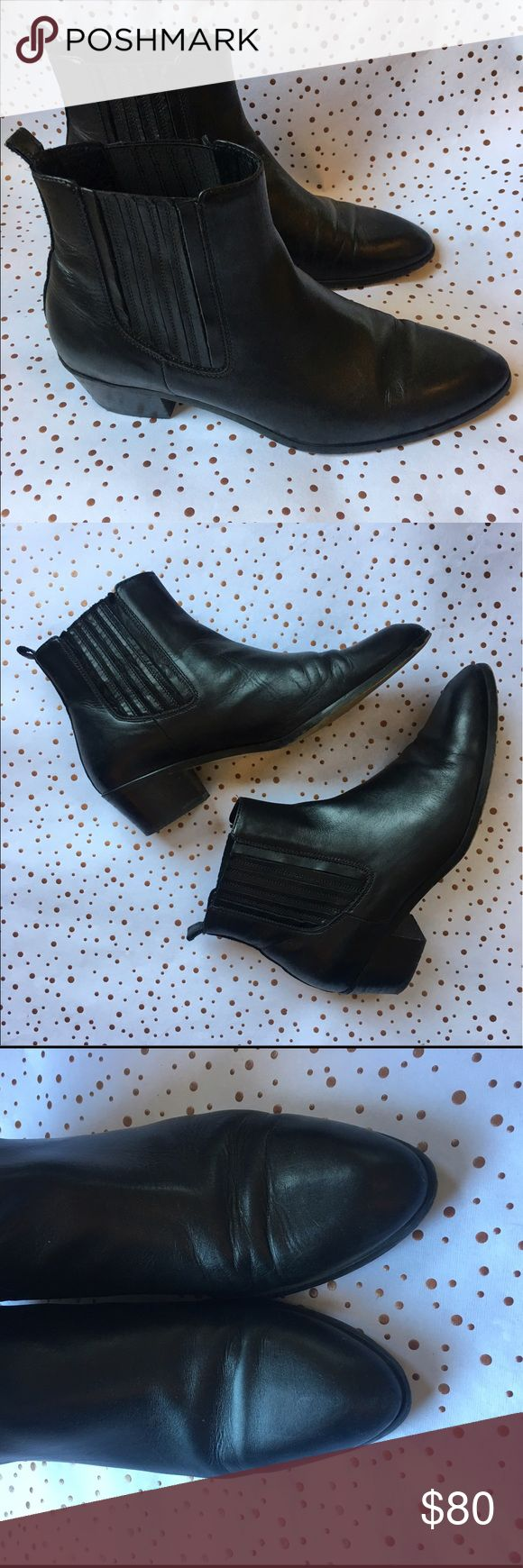 J.Crew Black Leather Chelsea Boots 10 1/2 Gorgeous pair of classic black leather Chelsea-style pull on booties from jcrew. These were always going OOS on the site when they were available because they were so popular. Soft leather, very sturdy and well made with a perfect slightly-pointed toe. Super chic! True 10 1/2 size. See photos for wear at the toebox and sides. J. Crew Shoes Ankle Boots & Booties