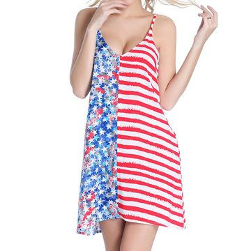 23a11e1ba64a2 SWIMMART Stars and Striped Flag V-neck Backless Cover Up For Women ...