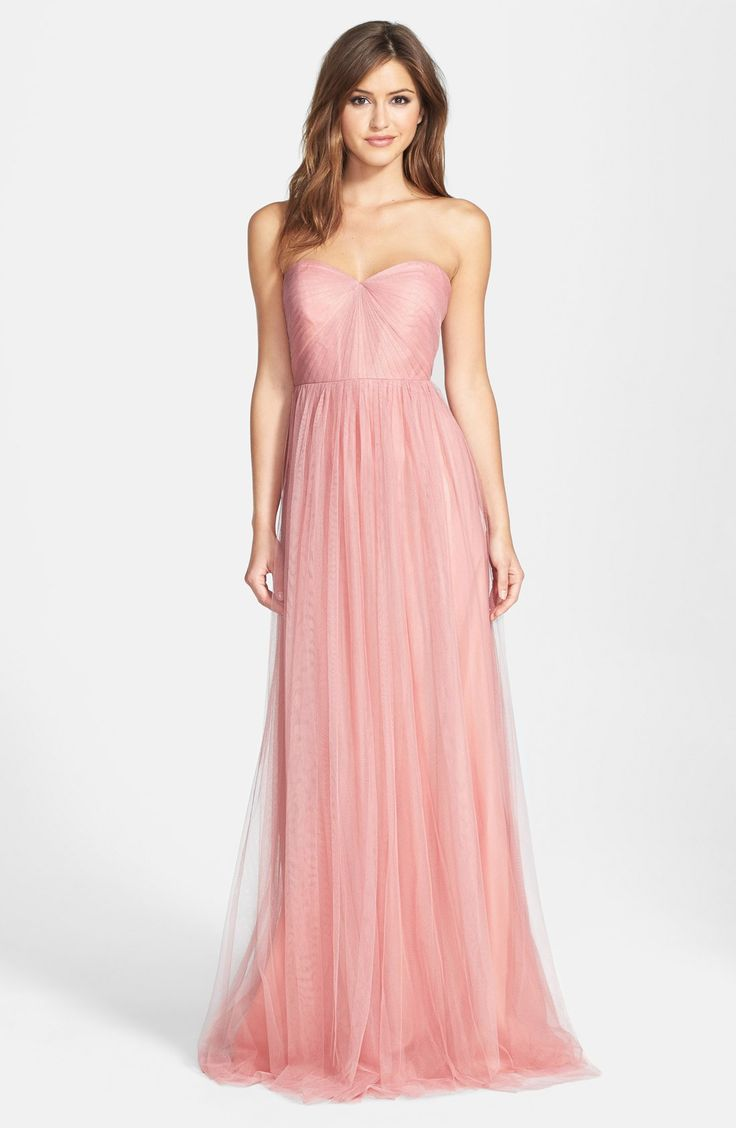 """BRIDESMAID DRESS:  Jenny Yoo 'Annabelle' Convertible Tulle Column Dress: Color """"Begonia Pink"""""""