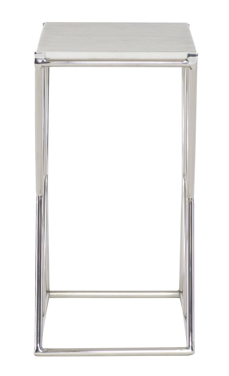 Bassett mirror company carnaby round cocktail leaf new home s - White Marble Top Iron Base In Nickel Plated Finishinches W D H