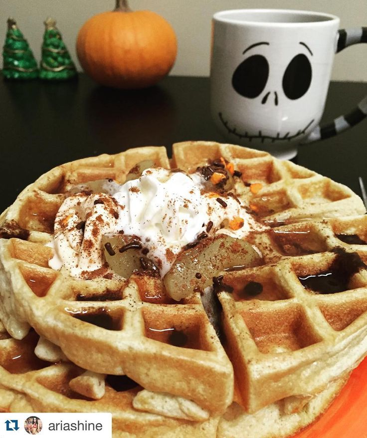 Delicious Morning Waffles  Thanks to @ariashine  #yum #repost  Jack Skellington approves of these Cinnamon Apple Pumpkin waffles... ice cream melted on top of a warm waffle with hot cinnamon apples is perfection. I will keep pumpkining year round because I've stock piled a ton of Pumpkin Spice MuscleEgg (there's still some left on www.MuscleEgg.com DM me for a promo code) and I like the texture and flavor that pure pumpkin adds to my foods but I'm ready for egg nog gingerbread sugar cookie…