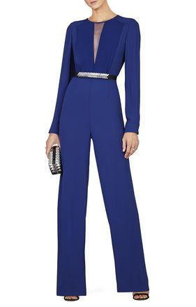 BLUE DEPTHS Blue JUMPSUITS AND ROMPERS - Marcee Long-Sleeve Chiffon-Front Jumpsuit