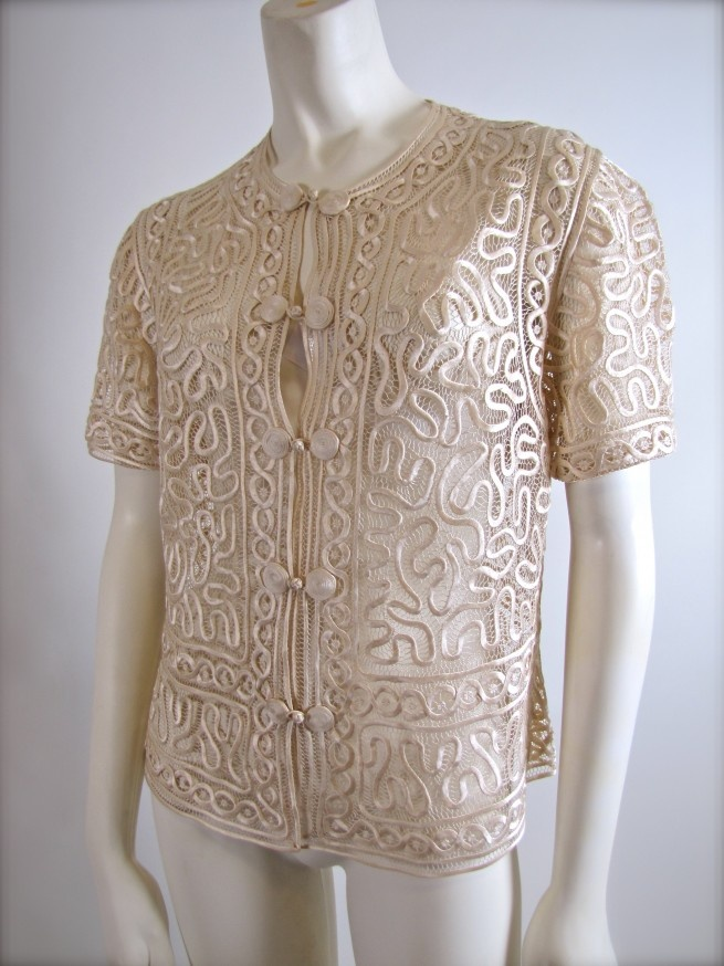 Cheongsam Ivory Ribbon Lace Blouse