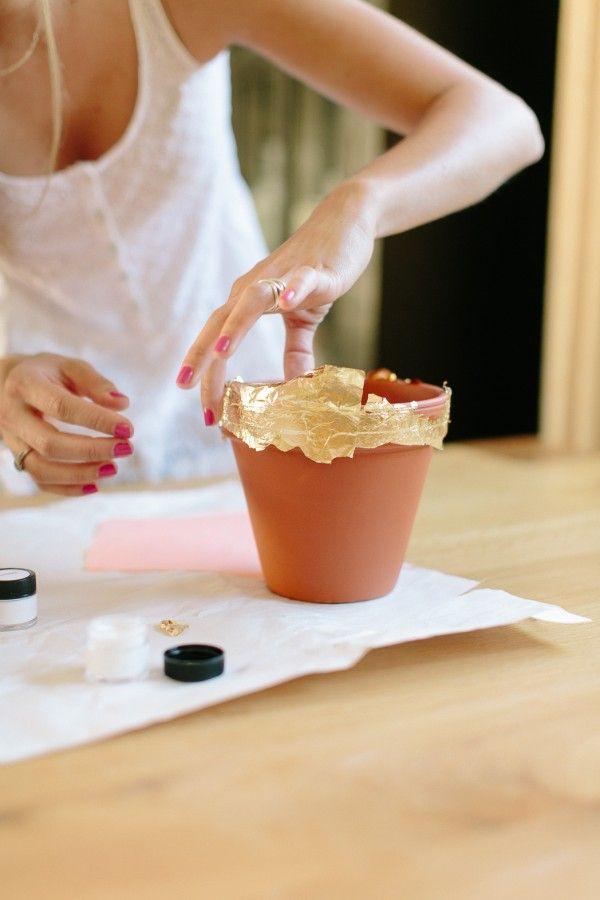 DIY Gold Leaf Pots by Michaela Noelle