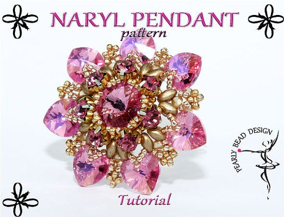 NARYL pendant pattern tutorial with SuperDuo, Swarovski Rivoli and heart