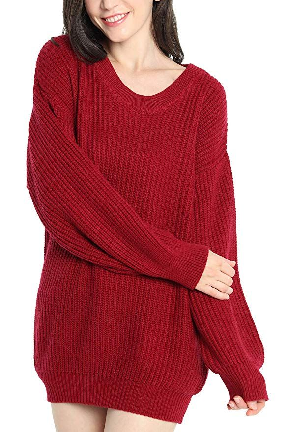 518255a508b Liny Xin Women s Cashmere Oversized Loose Knitted Crew Neck Long Sleeve  Winter Warm Wool Pullover Long Sweater Dresses Tops at Amazon Women s  Clothing store ...