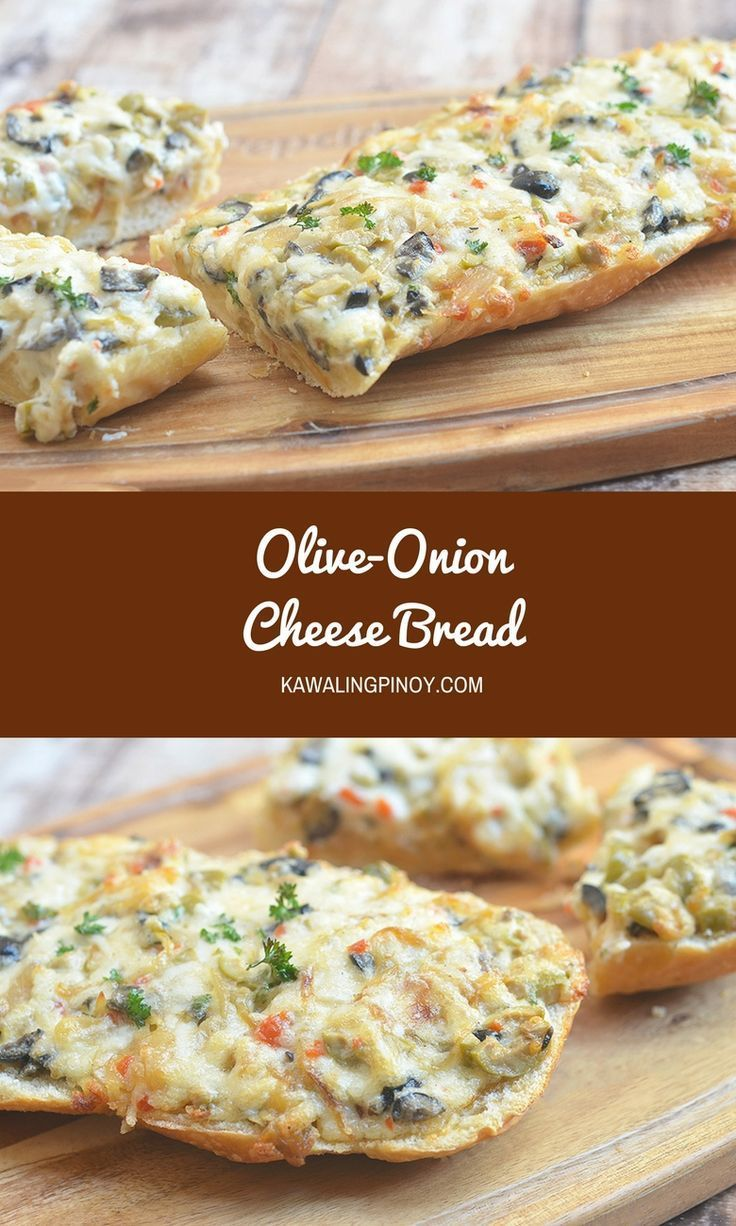 Elevate your tailgate with Olive-Onion Cheese Bread. French bread loaf topped with olives, caramelized onions, cheese, mayo, and green onions and baked until gooey and bubbly.