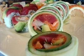 Zenbu @ La Jolla - Sashimi Roll No Rice! Tuna, Yellowtail and Salmon with Yamagobo, Daikon Sprouts, Avocado, and rolled in Cucumber.