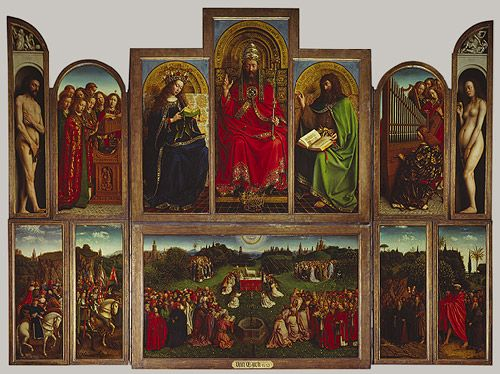 The Ghent Altarpiece (Adoration of the Mystic Lamb), 1432, open state  Hubert van Eyck (Netherlandish, died 1426) and Jan van Eyck (Netherlandish, 1390/1400–1441)  Oil on panel  Cathedral of Saint Bavo, Ghent, Belgium