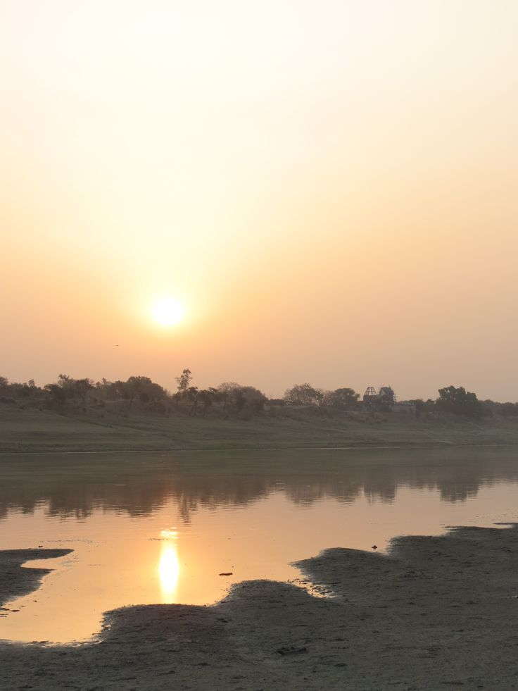 sunrise after sleeping on the riverbank of the Ganges