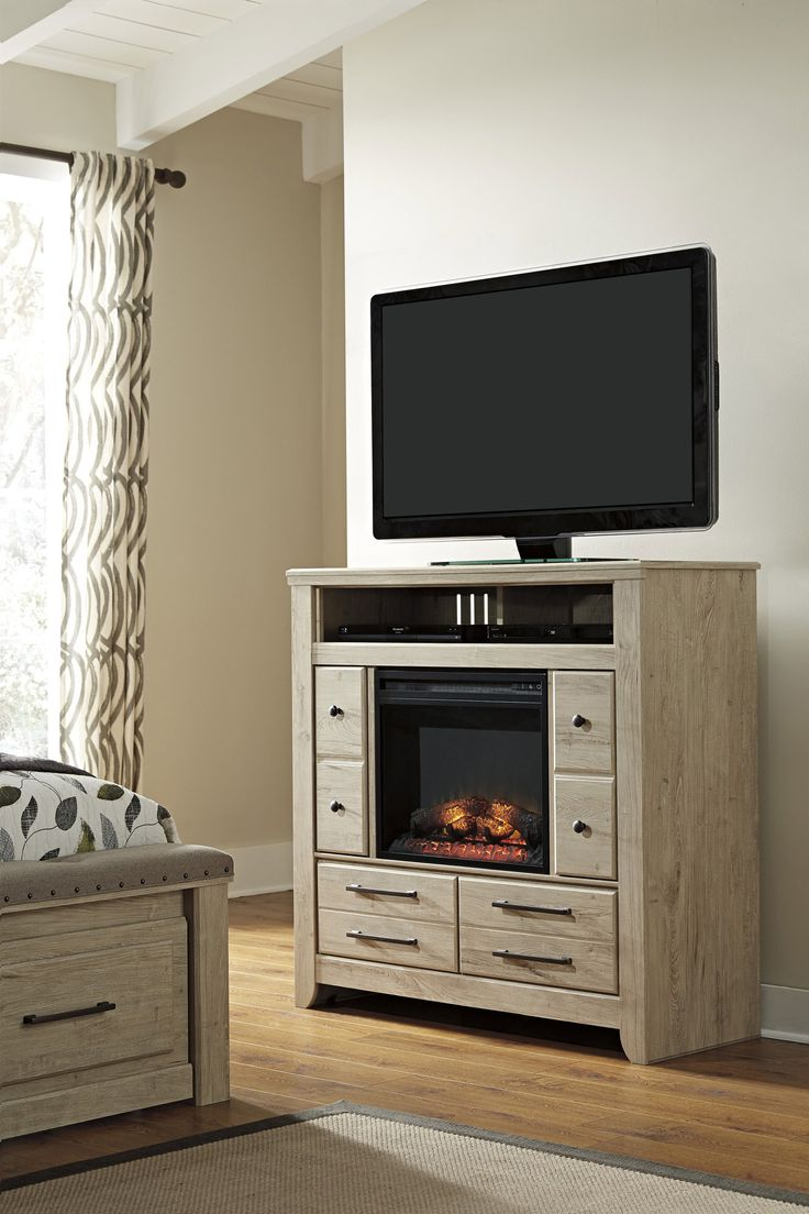 Media chest w fireplace option ashley home gallery for Fireplace options