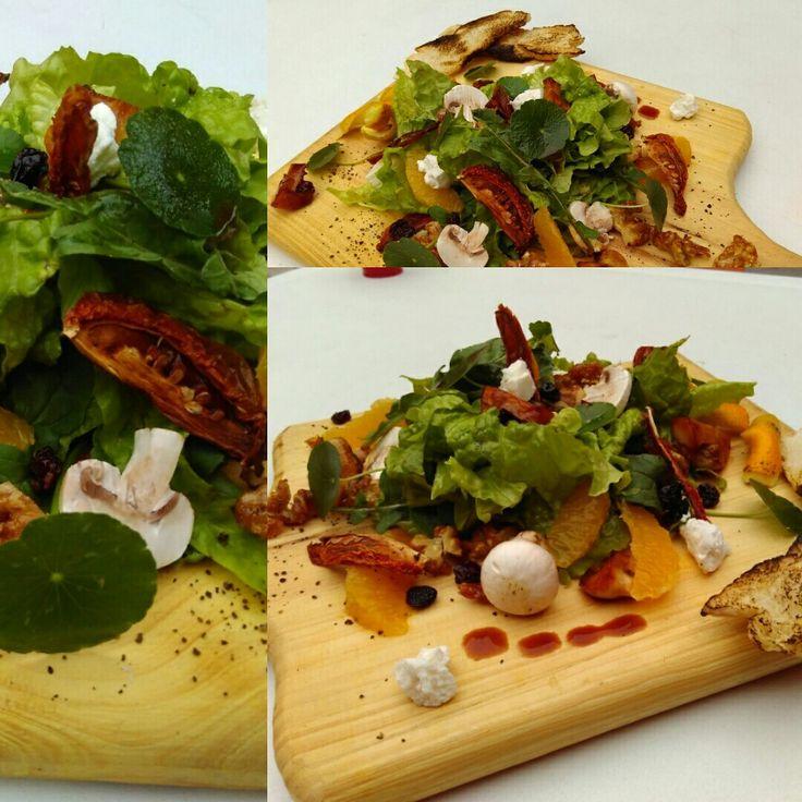 Mezclum de lechugas, rugula, hojas de lochas fresca, hongos, tomates secos , gajos de naranjas y ricotta de cabra