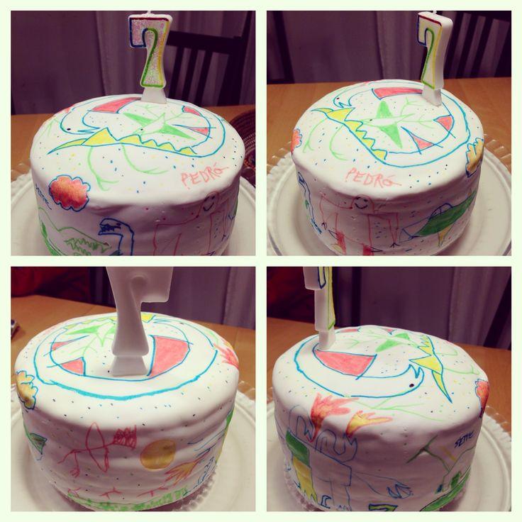 Kids drawing cake