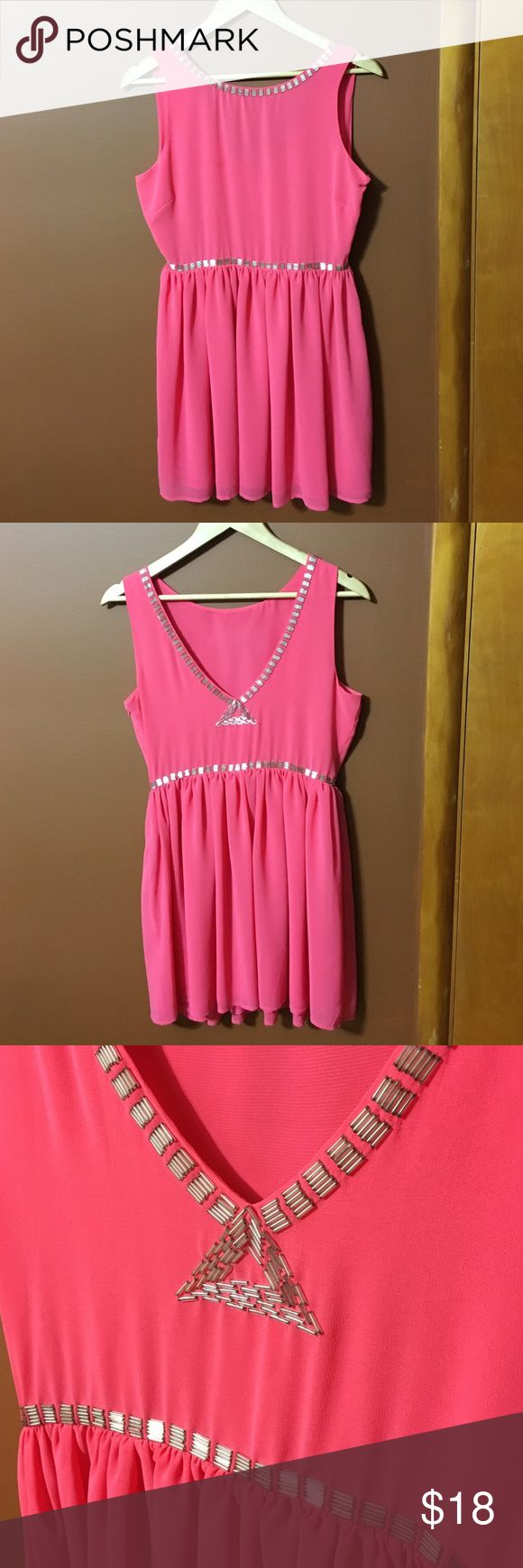 Forever 21 Dress Light pink dress. V Neck Back with silver/clear bead design. Bead design followed along in the front. Zips on side. Worn once to wedding shower. Like brand new Forever 21 Dresses Mini