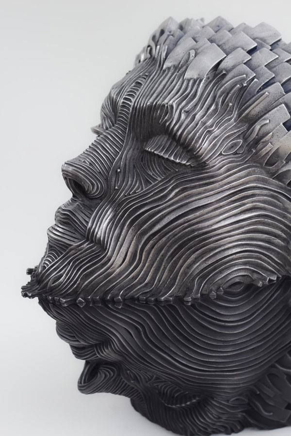 Creative Figure Metal Sculptures Composed of Unraveling Steel