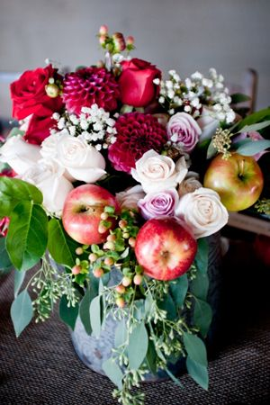 gorgeous fall centerpiece with dahlias + apples #wedding